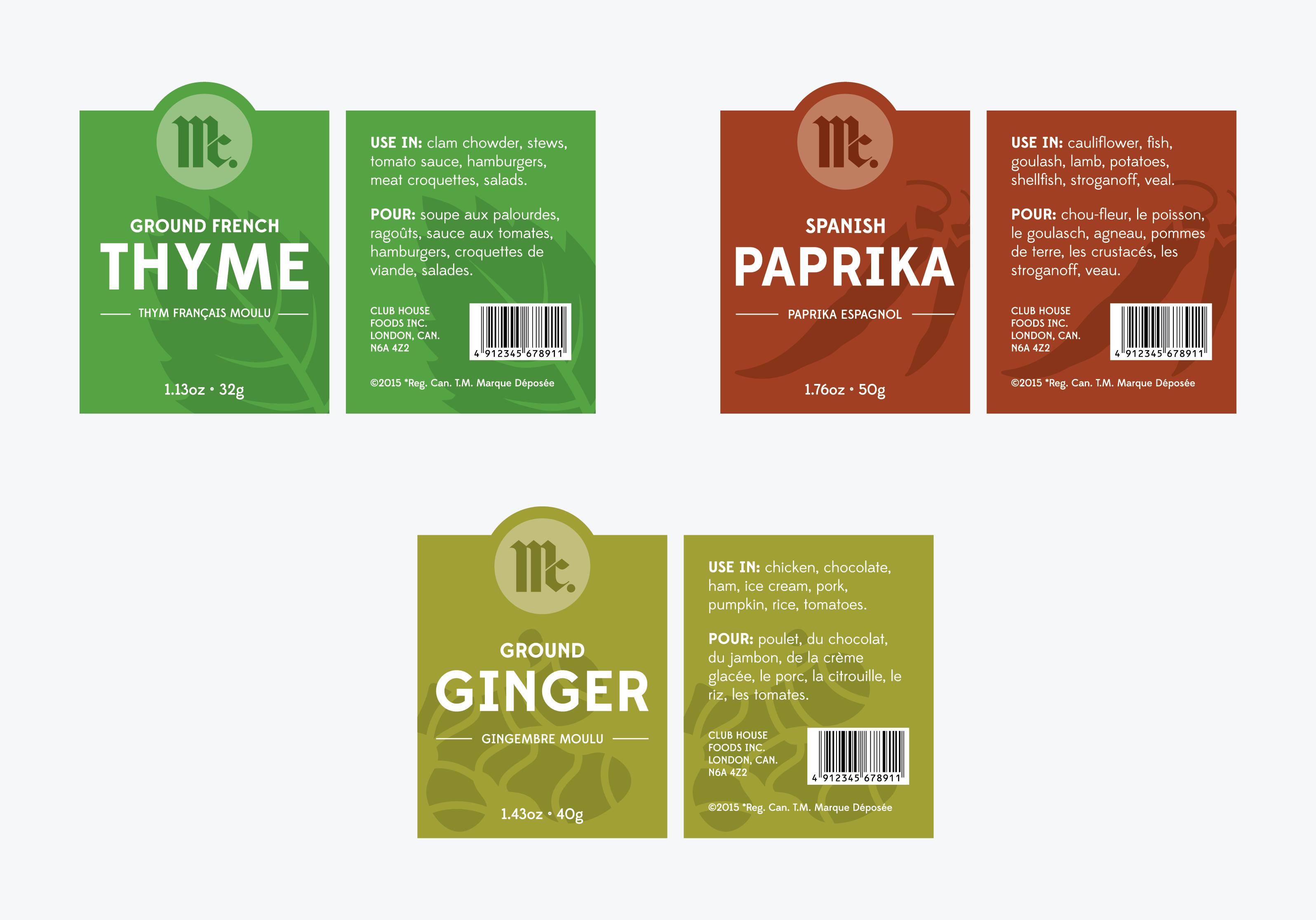 spice bottle labels
